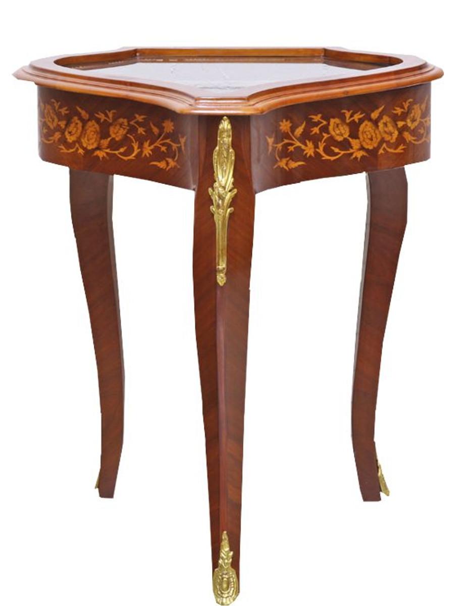 casa padrino barock beistelltisch mahagoni intarsien gold h75 x 55 cm ludwig xvi antik stil. Black Bedroom Furniture Sets. Home Design Ideas