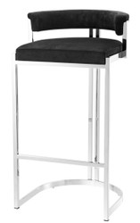 Casa Padrino luxury bar stool black / silver 48.5 x 46.5 x H. 90 cm - Luxury Furniture
