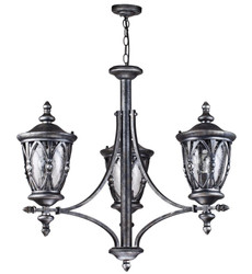 Casa Padrino baroque style outdoor hanging lamp 3-flame antique black - Furniture in Baroque Style