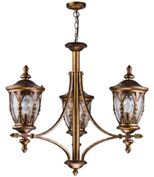 Casa Padrino baroque style outdoor hanging lamp 3-flame antique gold - Furniture in Baroque Style