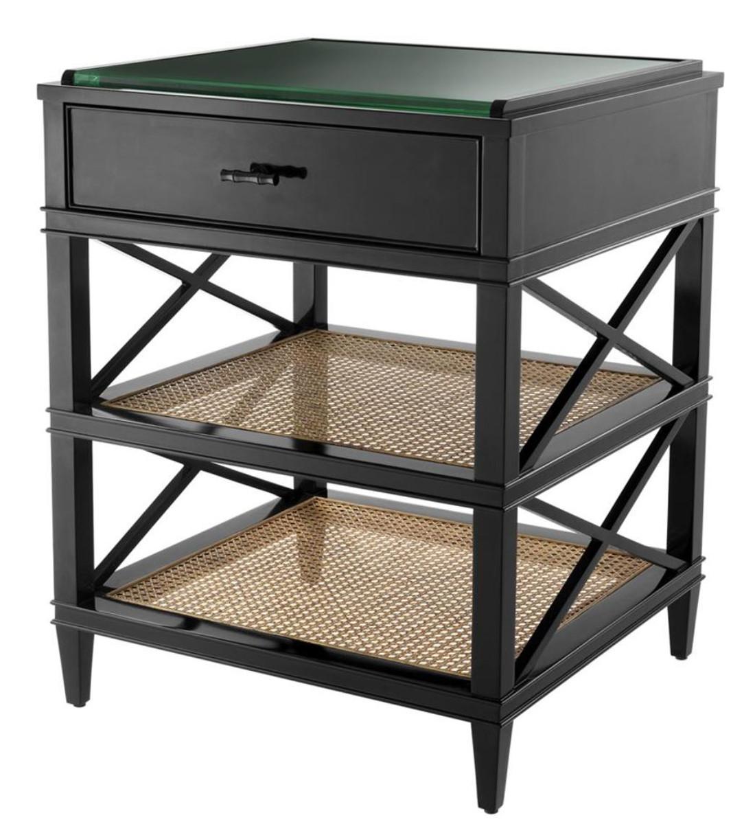 casa padrino luxus beistelltisch mit schublade und regal schwarz naturfarben bronze 60 x 56. Black Bedroom Furniture Sets. Home Design Ideas