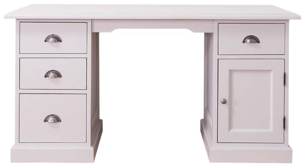 Casa Padrino Landhausstil Schreibtisch Weiß 152 x 70 x H. 78 cm -  Landhausstil Büromöbel