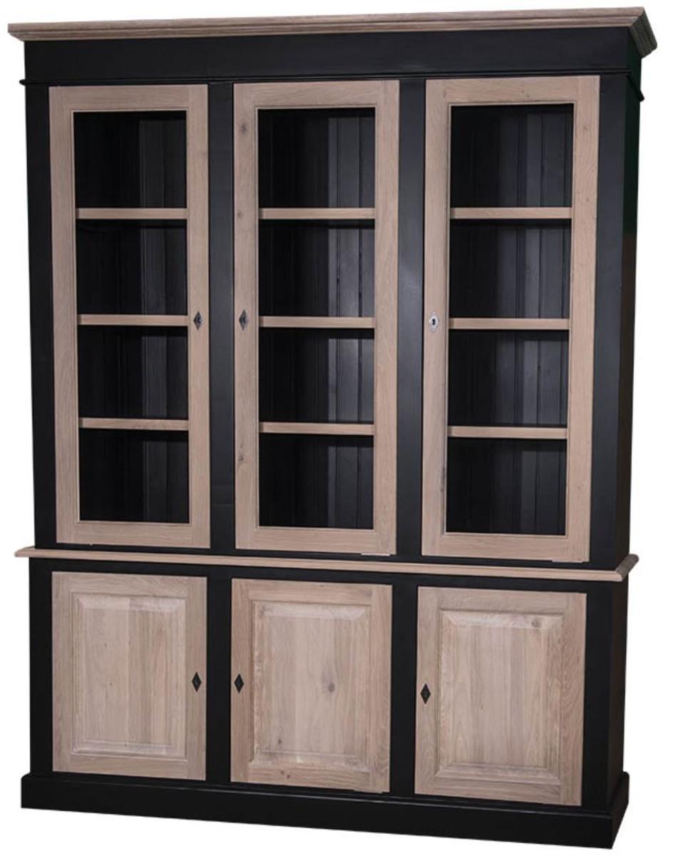 Casa padrino landhausstil wohnzimmerschrank schwarz naturfarben 182 x 48 x h 228 cm - Wohnzimmerschrank schwarz ...