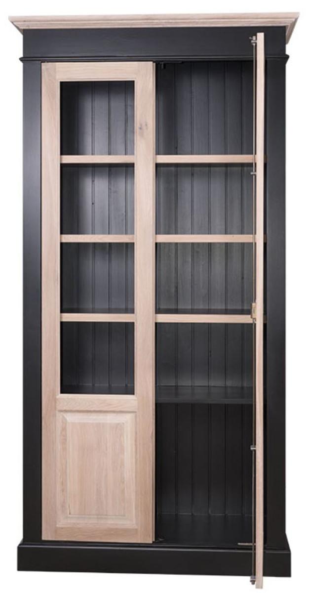 Casa padrino landhausstil wohnzimmerschrank schwarz naturfarben 109 x 40 x h 210 cm - Wohnzimmerschrank schwarz ...