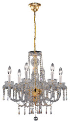 Casa Padrino baroque style crystal chandelier brass / gold 58 x 56 x H. 56 cm - Noble & Sumptuous