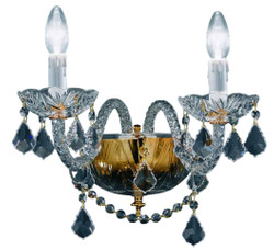 Casa Padrino baroque style crystal wall lamp gold 35 x 32 x H. 26 cm - Baroque Furniture & Accessories
