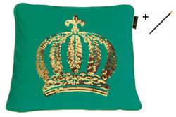 Harald Glööckler designer decorative pillow 50 x 50 cm crown with sequins sea-green / gold + Casa Padrino Luxury Baroque Pencil with Crown Design