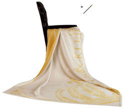 Harald Glööckler designer living blanket 150 x 200 cm queen cream / gold + Casa Padrino Luxury Baroque Pencil with Crown Design