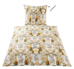 Harald Glööckler designer bed linen quaste multicolored 135 x 200 cm + Casa Padrino Luxury Baroque Pencil with Crown Design