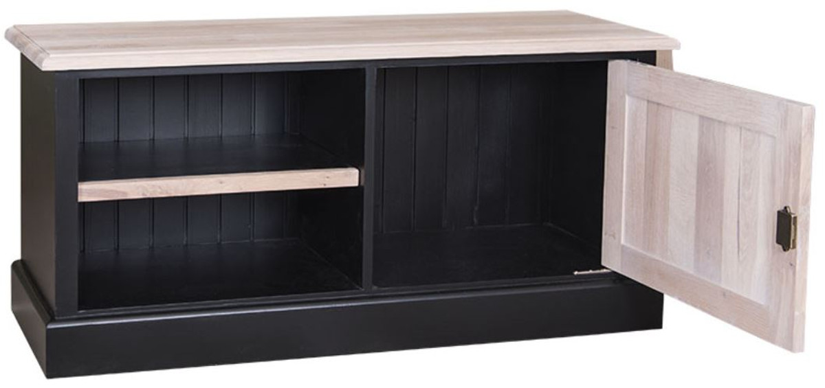 casa padrino landhausstil tv sideboard schwarz naturfarben 120 x 40 x h 50 cm. Black Bedroom Furniture Sets. Home Design Ideas