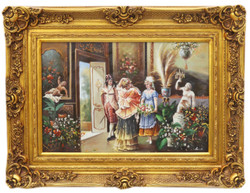 Casa Padrino baroque oil painting receiving gold pageantry frame 130 x H. 100 cm - Magnificent Painting in Baroque Style