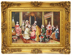 Casa Padrino baroque oil painting family meeting gold pageantry frame 130 x H. 100 cm - Noble & Magnificent