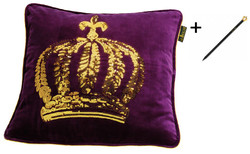 Harald Glööckler designer cushion sleeve crown with sequins purple / gold 50 x 50 cm + Casa Padrino Luxury Baroque Pencil with Crown Design
