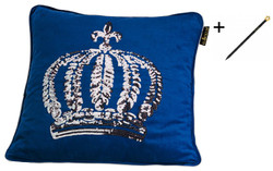 Harald Glööckler designer pillow sleeve crown with sequins blue / silver 50 x 50 cm + Casa Padrino Luxury Baroque Pencil with Crown Design