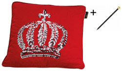 Harald Glööckler designer pillow sleeve crown with sequins red / silver 50 x 50 cm + Casa Padrino Luxury Baroque Pencil with Crown Design