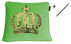 Harald Glööckler designer cushion sleeve crown with sequins green / gold 50 x 50 cm + Casa Padrino Luxury Baroque Pencil with Crown Design