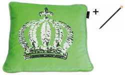 Harald Glööckler designer cushion sleeve crown with sequins green / silver 50 x 50 cm + Casa Padrino Luxury Baroque Pencil with Crown Design