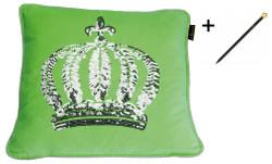 Harald Glööckler Designer Zierkissenhülle Krone mit Pailletten Grün / Silber 50 x 50 cm + Casa Padrino Luxus Barock Bleistift mit Kronendesign