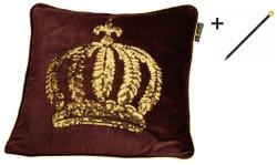 Harald Glööckler Designer Zierkissenhülle Krone mit Pailletten Braun / Gold 50 x 50 cm + Casa Padrino Luxus Barock Bleistift mit Kronendesign