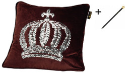 Harald Glööckler designer cushion sleeve crown with sequins brown / silver 50 x 50 cm + Casa Padrino Luxury Baroque Pencil with Crown Design