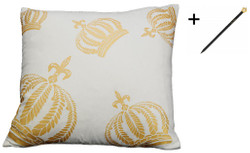 Harald Glööckler designer cushion sleeve crown white / gold 50 x 50 cm + Casa Padrino Luxury Baroque Pencil with Crown Design