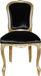 Casa Padrino Luxury Baroque Dining Chair Gold / Black Mod2 - Luxury Quality - Hotel Furniture
