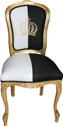 Pompöös by Casa Padrino Baroque Dining Chair Black / White / Gold - Pompööser Baroque Chair designed by Harald Glööckler