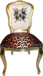 Pompöös by Casa Padrino Luxury Baroque Dining Chair Leopard / White / Gold Glitter Crown & Angel Wing - Pompööser Baroque Chair designed by Harald Glööckler