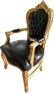 Casa Padrino Baroque Dinner Chair Black / Gold with armrest leather look – Bild 2