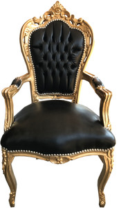 Casa Padrino Baroque Dinner Chair Black / Gold with armrest leather look – Bild 1