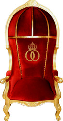 Pompöös by Casa Padrino Luxury Balloon Baroque Armchair Bordeaux / Black / Gold with glittering crown - Pompööser Baroque Armchair designed by Harald Glööckler