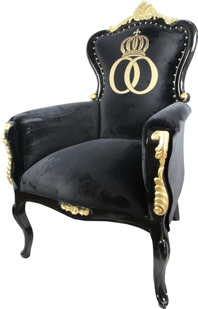 pomp s by casa padrino luxus barock sessel bergere schwarz gold mit goldkrone pomp ser. Black Bedroom Furniture Sets. Home Design Ideas