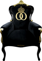 Pompöös by Casa Padrino Luxury Baroque Armchair Bergere Black / Gold with Gold Crown - Pompööser Baroque Armchair designed by Harald Glööckler