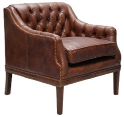 Casa Padrino genuine leather living room armchair dark brown 80 x 77 x H. 85 cm - Luxury Living Room Furniture
