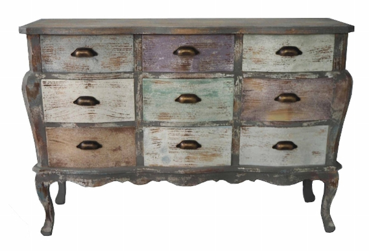 Fesselnd Casa Padrino Country House Style Shabby Chic Chest Gray Brown / Multi  Colored 122 X
