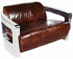 Casa Padrino genuine leather 2 seater sofa dark brown / silver 123 x 83 x H. 70 cm - Luxury Living Room Furniture