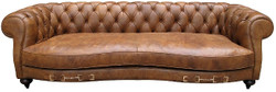 Casa Padrino genuine leather 2.5-seater sofa columbia brown 218 x 105 x H. 73 cm - Luxury Quality