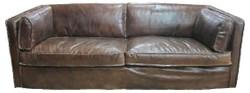 Casa Padrino Genuine Leather Living Room Sofa Vintage Dark Brown 225 x 99 x H. 73 cm - Luxury Furniture