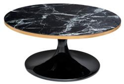 Casa Padrino luxury coffee table Black / brass colors Ø 90 x H. 41 cm - Luxury Coffee Table