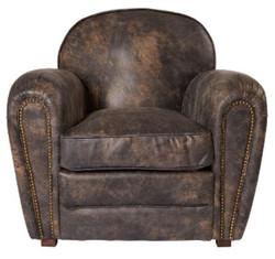 Casa Padrino Luxus Echtleder Sessel Vintage Dunkelbraun 88 x 76 x H. 88 cm - Luxus Kollektion