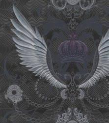 Harald Glööckler Designer Baroque Non-Woven Wallpaper 54454 - Eagle Wings - Anthracite / Metallic