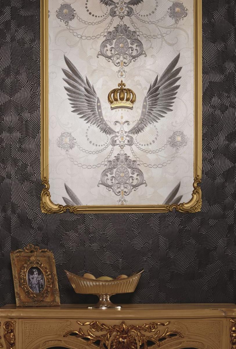harald gl ckler designer barock vliestapete 54456 adlerschwingen wei grau silber. Black Bedroom Furniture Sets. Home Design Ideas