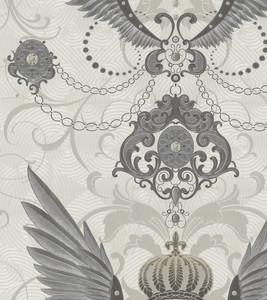 Harald Glööckler Designer Barock Vliestapete 54456 - Adlerschwingen - Weiß / Grau / Silber – Bild 1