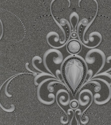 Harald Glööckler Designer Baroque Non-Woven Wallpaper 58560 - Ornaments with Rhinestones - Gray / Anthracite