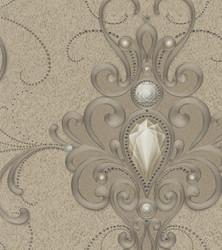 Harald Glööckler Designer Baroque Non-Woven Wallpaper 58559 - Ornaments with Rhinestones - Gold / Copper