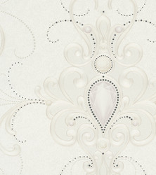 Harald Glööckler Designer Baroque Non-Woven Wallpaper 58558 - Ornaments with Rhinestones - Beige / Cream