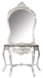 Casa Padrino Baroque Mirror Console Silver / Black 95 x 40 x H. 190 cm - Baroque Style Make-Up Console