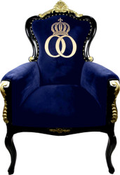Pompöös by Casa Padrino luxury baroque armchair Bergere blue / black / gold with gold crown - Pompöös baroque armchair designed by Harald Glööckler