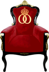 Pompöös by Casa Padrino luxury baroque armchair Bergere red / black / gold with gold crown - Pompöös baroque armchair designed by Harald Glööckler
