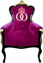 Pompöös by Casa Padrino luxury baroque armchair Bergere pink / black / gold with gold crown - Pompöös baroque armchair designed by Harald Glööckler